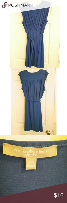 NY collection petite faux wrap dress Size XLP NY collection dress. Made of 94% polyester & 6% spandex. No stains or rips. Shoulders 18in, bust  21in, elastic waistband 16.5in, length 35.5in. NY Collection Dresses