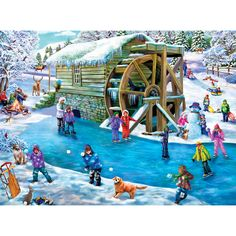 Bits and Pieces - 500 Piece Jigsaw Puzzle for Adults - Frozen Fun - 500 pc Pond Ice Skating Jigsaw by Artist Mary Thompson Christmas Puzzle, Cozy Christmas, Christmas Colors, Christmas Crafts, Puzzle Organization, Puzzle Shop, Favorite Pastime, Winter Art, Vintage Christmas Cards