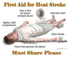 First Aid for Heat Stroke That time of year is HERE. like everything else, people handle heat differently. Be sure to SHARE this! If you suspect heat stroke:. Super Brain Yoga, Effects Of Heat, Summer Safety, Heat Stress, Out Of Touch, First Aid, Emergency Preparedness, Survival Hacks, Survival Skills