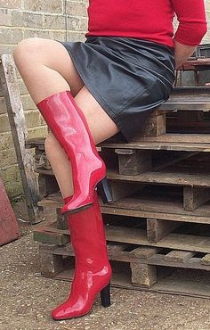 Modelling my lovely red Cox boots 3   Freya s world of high heel rubber  boots   Flickr df4538988c