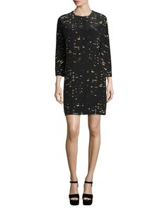 Long-Sleeve Jewel-Neck Shift Dress, Windows Black/Multi, Women's, Size: X-LARGE, Windows Black Mul - Risto