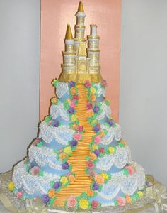 Indulge in your day as a princess with a castle quinceañera cake.