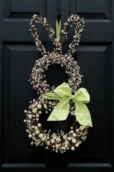 Bunny wreath, cute idea...use two round and one heart wreath