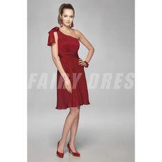 Robe demoiselle d'honneur rouge à seule épaule à A-ligne ruchée et ornée de strass Modèle: WPBD0022  Disponibilité : En stock €97,64