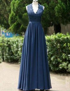 Modest A-line Navy Blue Long Chiffon Bridesmaid Dress