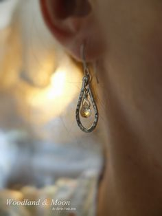 Sterling silver and citrine earrings silver by WoodlandAndMoon
