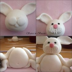 Easter Bunny tutorial in fondant. Use Fimo clay and save the bunny for a decoration! Cake Decorating Techniques, Cake Decorating Tutorials, Cookie Decorating, Fondant Toppers, Fondant Cakes, Cupcake Cakes, Fondant Figures, Decors Pate A Sucre, Fondant Animals
