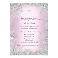 Shop Photo Pink Silver Snowflake Baptism/Christening Invitation created by Zizzago. Personalize it with photos & text or purchase as is! Photo Invitations, Gold Invitations, Invitation Paper, Personalized Invitations, Custom Invitations, Invites, Communion Invitations, Christening Invitations, Birthday Invitations