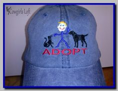 Embroidered ADOPT Dog Cat Cap Blue Denim Cotton Hat Baseball Low Fitting Soft Crown Velcro Closure by CowgirlsLoft on Etsy