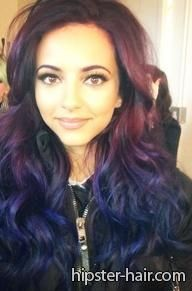 purple blue long ombre wavy hair