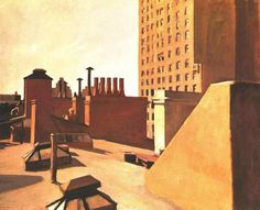 Edward Hopper City Roofs, Oil on canvas, 29 × × cm). Whitney Museum of American Art, New York; promised gift of an anonymous donor © Heirs of Josephine N. Hopper, licensed by Whitney Museum of American Art. American Realism, American Artists, Claude Monet, Edward Hopper Paintings, Pop Art, Ashcan School, Social Realism, Robert Rauschenberg, Dibujo