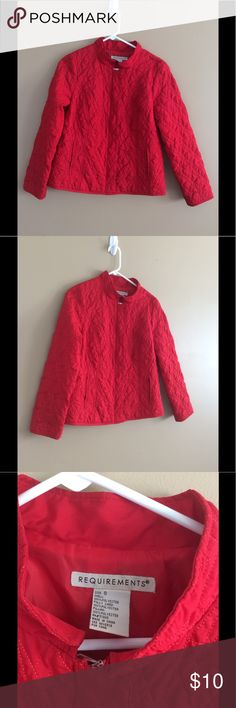 Women's Red Requirements Soft Quilted Jacket Small Buyer gets this Awesome Pre-Owned Women's Red Requirements jacket Coat. Soft Quilted outside lined inside SEE PICS   Size Small. SEE Pics fir Measurements   Fantastic Condition No Holes Tears or Stains   Smoke free home Requirements Jackets & Coats Puffers