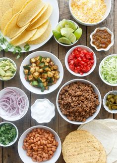 Make Your Own Tacos Bar | get directions and recipes at barefeetinthekitchen.com