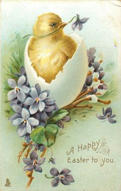 Vintage Chick and Happy Easter Wishes Postcard - Hop on the bunny ride and have a good Easter. Easter Art, Easter Crafts, Easter Bunny, Easter Chick, Easter Eggs, Decoupage, Fete Pascal, Kind Und Kegel, Happy Easter Wishes