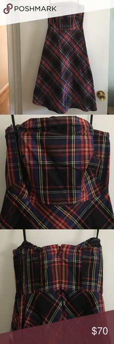J. Crew Strapless Silk Tartan Dress 100% silk stunning tartan plaid dress from J. Crew. Fitted strapless top with a flared bodice. Absolutely gorgeous and perfect for any party. Brand new with tags! J. Crew Dresses Midi