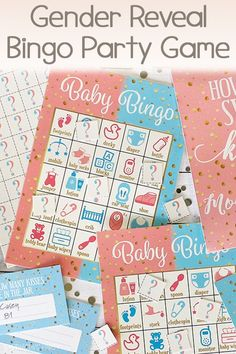 Baby Gender Reveal Party Bingo Game makes for the perfect baby shower game. Made in the USA. Click now to browse. #genderreveal #genderrevealbingo #bingogame