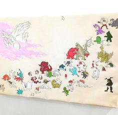 ウルトラ怪獣大集合の図を和風に描くとこうなる #1日1アート #everydayart #tdw2016 #ウルトラマン #怪獣 #宗篤志 #art #tdw2016