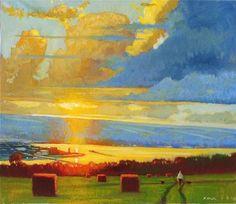 "Over Watkins Glen, NY - Spring Sky - oil 26"" x 30"" $2800 | Brian Keeler Studio Artwork Gallery"