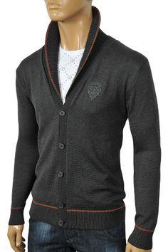 Mens Designer Clothes | GUCCI Men's V-Neck Button Up Sweater #59