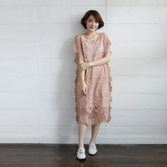 Short-Sleeve Dresses Lace Cotton Butterfly Tan Color - www.tanbagshop.com