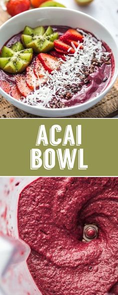 Homemade Acai Bowl Recipe- this has just a few good-for-you ingredients and makes for an easy and healthy breakfast! Homemade Acai Bowl Recipe- this has just a few good-for-you ingredients and makes for an easy and healthy breakfast! Diet Smoothie Recipes, Healthy Breakfast Smoothies, Easy Smoothies, Healthy Breakfast Recipes, Brunch Recipes, Smoothie Bowl, Dinner Healthy, Vegan Recipes, Acai Smoothie