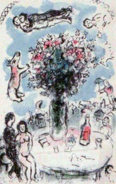 Lovers Table 1983 by Marc Chagall