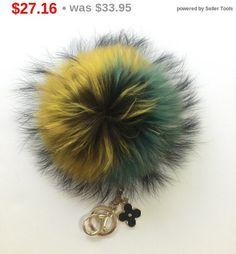 NEW Collection Dimensional Swirl Yellow / Green Raccoon Fur Pom Pom bag charm clover flower charm keychain