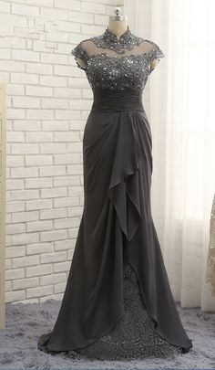 Best-selling gray scale bride's mother dress mermaid sleeve #prom #promdress #dress #eveningdress #evening #fashion #love #shopping #art #dress #women #mermaid #SEXY #SexyGirl #PromDresses