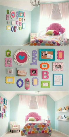 @Do a cute frame wall with painted princess sign and letter A along with gem frame and princess artwork all in the closet Dress Up Area
