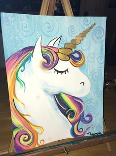 Learn how to paint this rainbow unicorn with acrylic paint on canvas! This is an easy beginner painting tutorial with a traceable and full video! Easy Canvas Painting, Simple Acrylic Paintings, Easy Paintings, Acrylic Painting Canvas, Diy Painting, Painting & Drawing, Indian Paintings, Canvas Paintings, Painting Tutorials