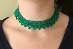 Beaded Lace Choker Handmade Crochet Necklace   Metal Free