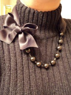 Swarovski Pearl and Satin Ribbon Necklace by jpogodesigns on Etsy, $42.00
