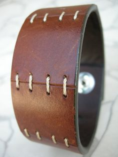 Mens Leather Cuff Stitched & Distressed Tough by ARTifactsBYJANIE, $24.99