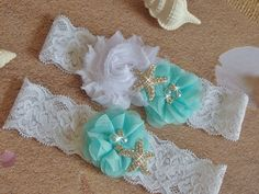 Light Aqua Beach Wedding Garter Starfish Bridal por bridalambrosia