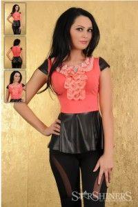 Pink blouse Mexton Coral, Peplum, Pearls, Women, Fashion, Moda, Fashion Styles, Beads, Veil