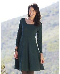 Simply Be Textured Jersey Skater Tunic Dress (dark green)