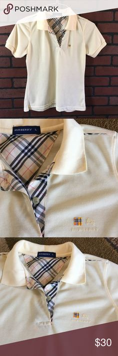 "Burberry polo top⭐️ Color is light yellow ⭐️Gently used⭐️ shoulder to bottom approx 22.5""⭐️across chest approx 17.5"" ⭐️ Burberry Shirts & Tops Polos"