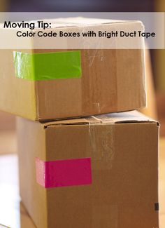 Moving Tip boxes with bright colored duct tape for labeling