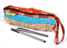 £8.00 Recycled rag rug pencil case, handmade by Fair Trade artisans in India.  #Fairtrade #Eco #Recycled #Handmade #Stationery