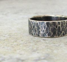 Distressed Silver Ring Hammered Rustic Wedding Band by SilverSmack