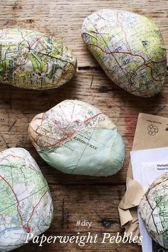 Paperweight Pebbles diy You will need maps, stones, scissors, glue