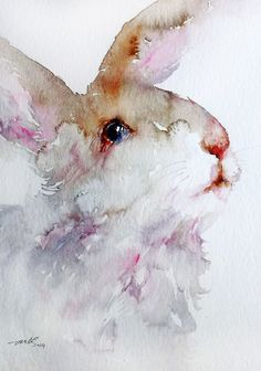 ARTFINDER: Woolly theWhite Rabbit by Arti Chauhan - This is a recent watercolor painting of a cute little white bunny with large, liquid eyes. I have painted him in softest of hues, using only  Burnt Sienna,Pi...