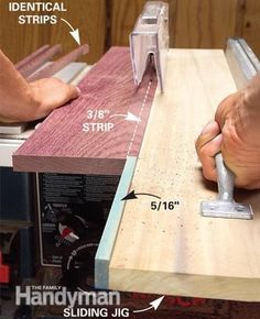 Cutting thin strips. To make the jig, attach a 5-in.-long strip of wood, 1/16 in. narrower than the width of the desired rip, to the end of a 1x6 as shown. Basically you're creating a horizontal push stick. Add a handle near the end of the jig to give yourself better control as you run the jig through the saw.