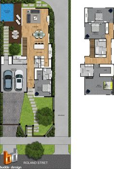 colour floor plan and site plan, 3 bedroom, 2 level townhouse - Strathmore Victoria (Top View Bedroom) Condo Floor Plans, Home Design Floor Plans, 3d Architectural Rendering, 3d Architectural Visualization, 3d Rendering, Casas The Sims Freeplay, Duplex Plans, Townhouse Designs, Storey Homes