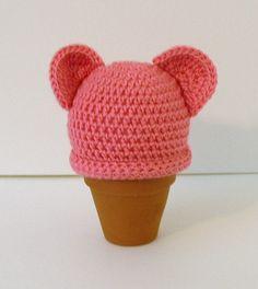 Crochet  Baby Hat, Newborn, Pink with Ears.