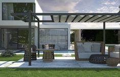 Pergola de Aço Com Canopy Melhor Design de Qualidade Tough Black Manchado Postagens Formas Crossbeams Vigas Tela Retrátil Teto Destaque Terraço Decoração de pátio