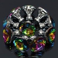 Material: Crystal & Alloy Color: As the picture shows Crystal Width: 2.8cm/1.1'' (appr.) Height: