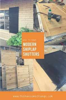 How to Make Modern Shiplap Shutters - Full Tutorial from the Awesome Orange. Click and see how easy it is! Modern Shutters, House Shutters, Diy Shutters, Interior Shutters, Easy Wood Projects, Easy Woodworking Projects, Popular Woodworking, Woodworking Furniture, Fine Woodworking
