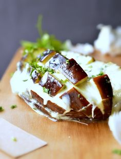 instead of cheesy garlic bread -- cheesy pull apart eggplant