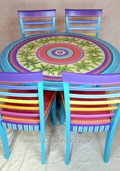 SOLD sample of CUSTOM WORK-Dining Table and Chairs by LisaFrick on Etsy
